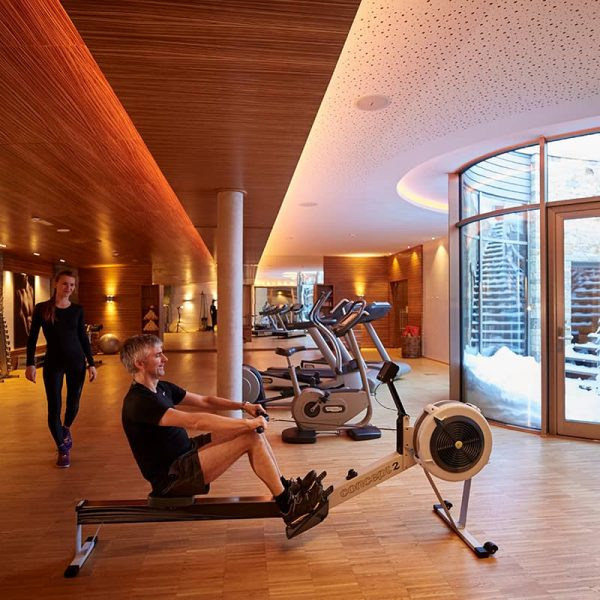 The gym at Auriga hotel in Lech