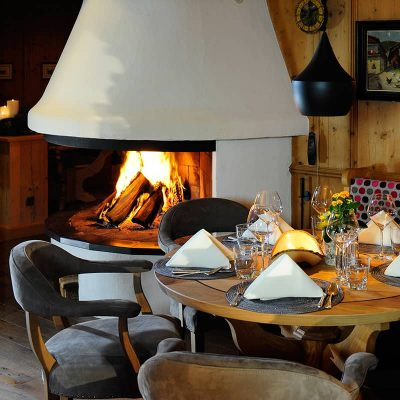 Cozy table next to the fire place in our hotel