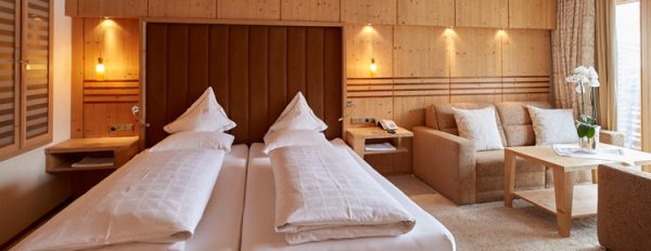 Fashionable rooms in the hotel at the Arlberg