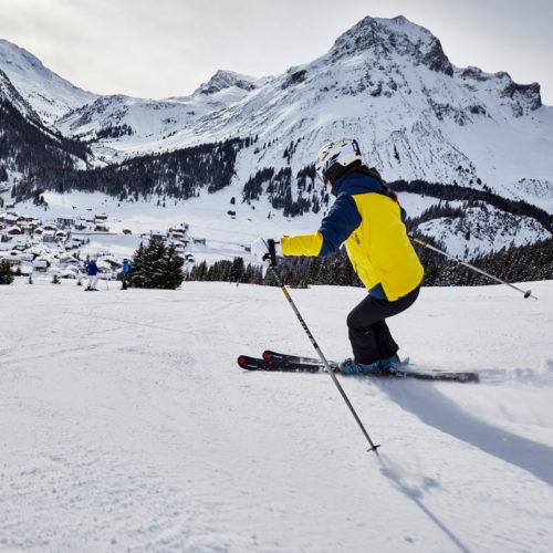 Vom Hotel Auriga in Lech, direkt auf die Skipiste