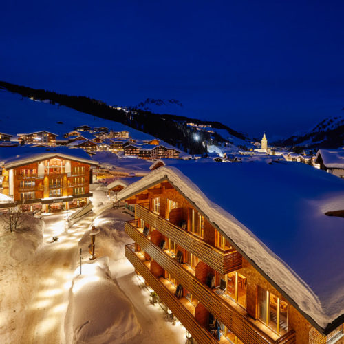 The Hotel Auriga at night in winter
