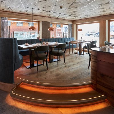 Special lighting effects in the dining room of the Hotel Auriga in Lech